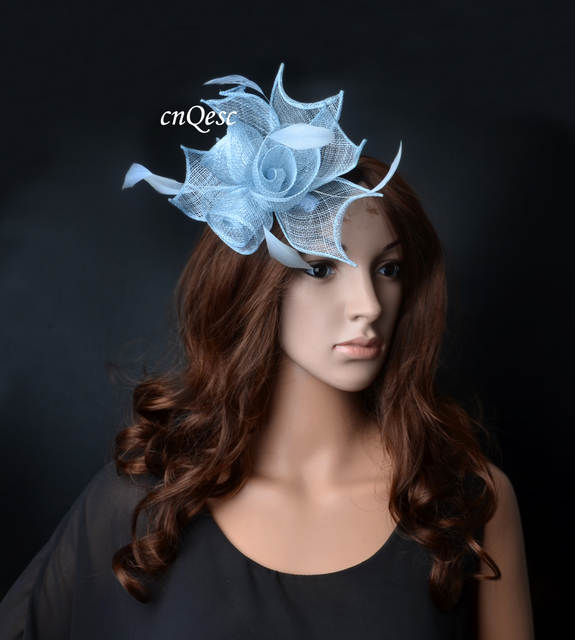 placeholder Wholesale NEW 12 colours.Small Combs Sinamay Fascinator with  Feathers for wedding b6c0dbbb8d40