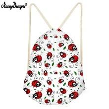 NOISYDESIGNS Newest Drawstring Bag Children Backpacks For Ladybird Pattern Teenager Girls Daily Sport Bag  Mochila Drop Shipping