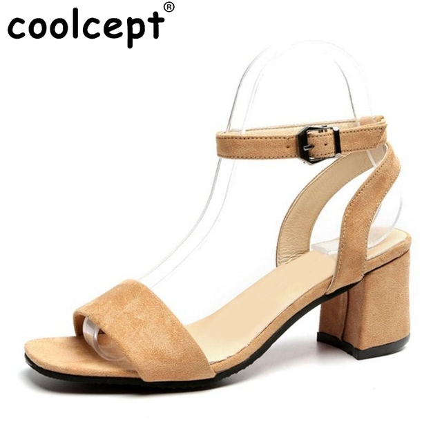 30ba68f519bd Coolcept Vintage Women High Heel Sandals Ankle Strap Open Toe Solid Color  Thick Heel Sandals Summer Vacation Shoes Size 35-39