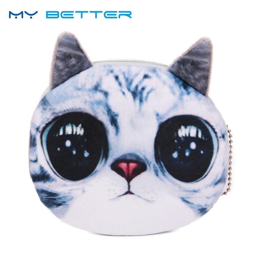 2PCS 3D Wallet Bag Ladies Face Zipper Mini Cat Coin Purses Dog Children Purse Plush Bolsa De Moeda Coins Pouch Monedero Gato