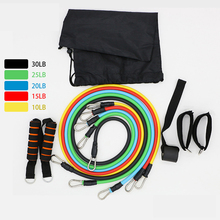 11pcs gum Pull Rope Fitness Exercise Resistance Bands Crossfit Latex Tubes Pedal Workout Elastic Training Yoga Gym Expander A