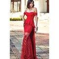 Vermelho Fora do Ombro Trem Tribunal de Cetim Reta Vestidos de Noite com Peplum Apliques Tulle Saia do Assoalho-Comprimento Vestidos de Baile