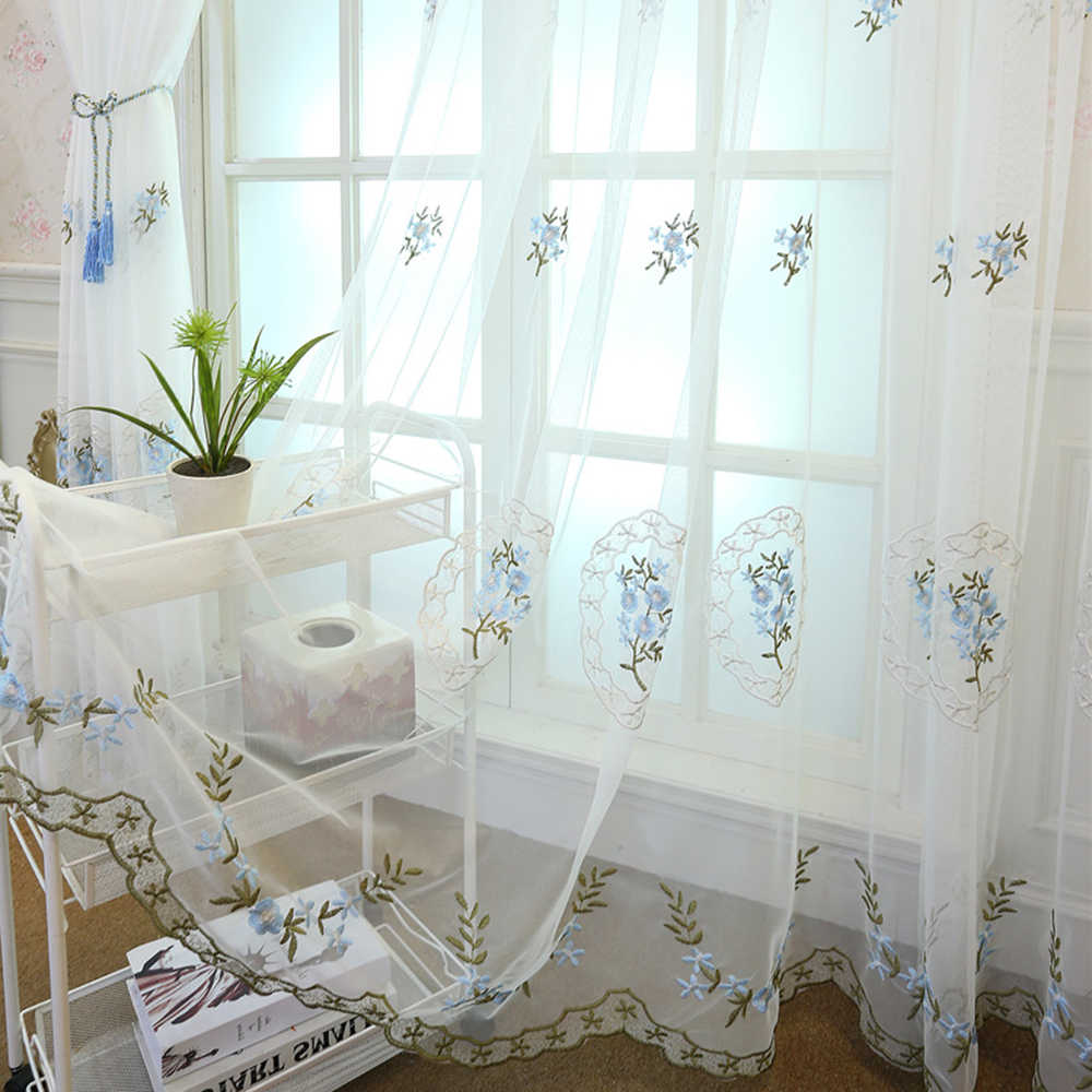Luxury Modern Living Room Curtain Tulle Pink Blue Floral Embroidered Outdoor Sheer Drapery Panels for Bedroom Kids Room TM0032