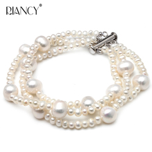 Fashion White Natural Freshwater Fancy Three rows pearl Bracelets& Pearl Chain  For Women Jewelry