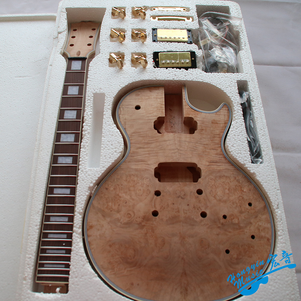 American Maple Pomegranate Veneer LP Style Electric Guitar DIY Kit Set African Mahogany Okoume Body Neck Rosewood Fingerboard white tiger pattern 3a grade maple veneer lp style electric guitar diy kit african mahogany okoume body neck rosewood fretboard