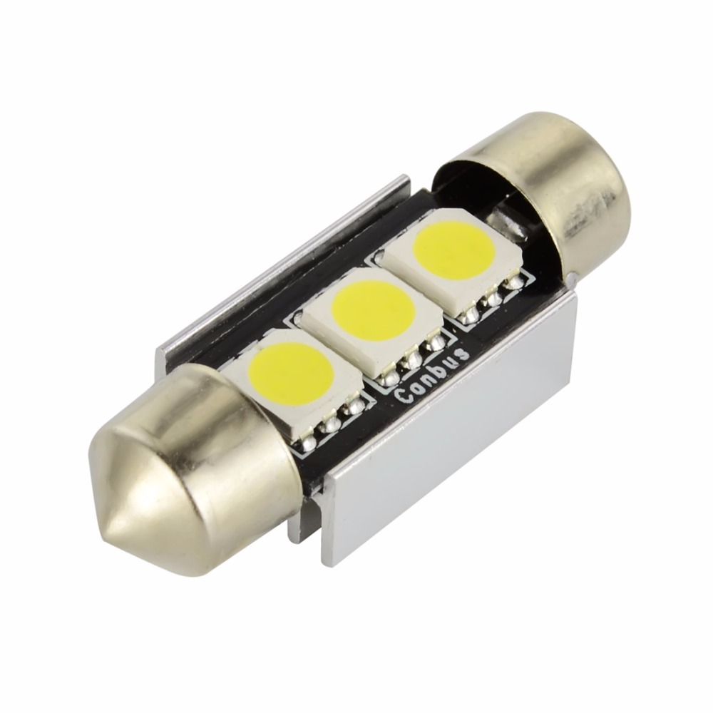 2 X 39mm Festoon 3 LED SMD Number Plate Light Bulbs Lamps Canbus Error Free 12V