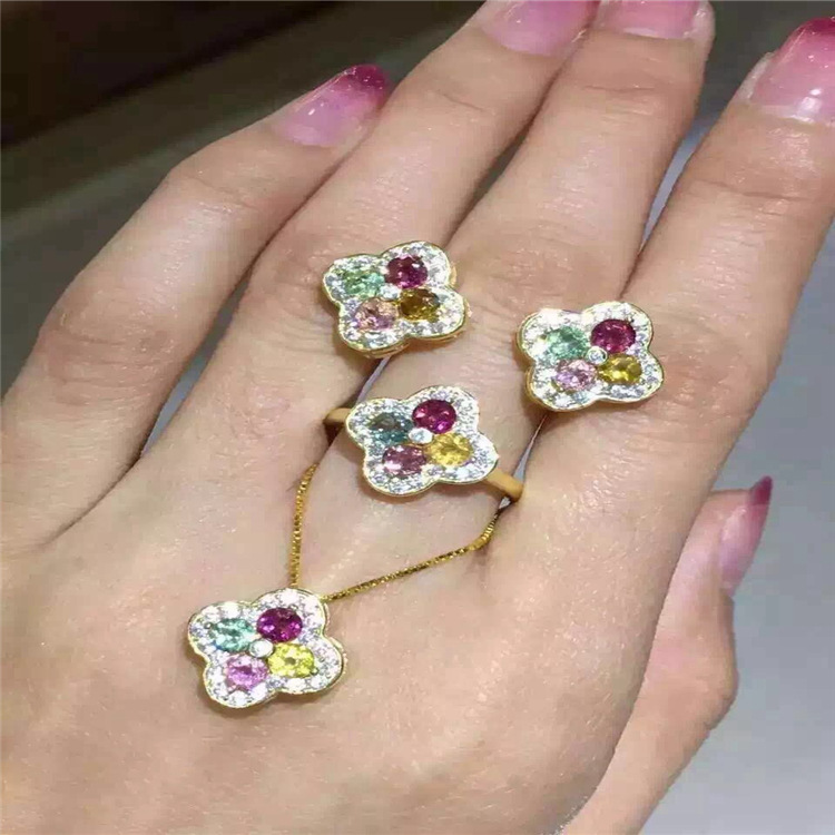 Natural Tourmaline Earrings + Ring + Pendant Set inlaid rose gold jewelry wholesale S925 Sterling Silver wholesale wholesale natural powder tourmaline suite 925 inlaid sterling silver pendant ring jewelry two pieces