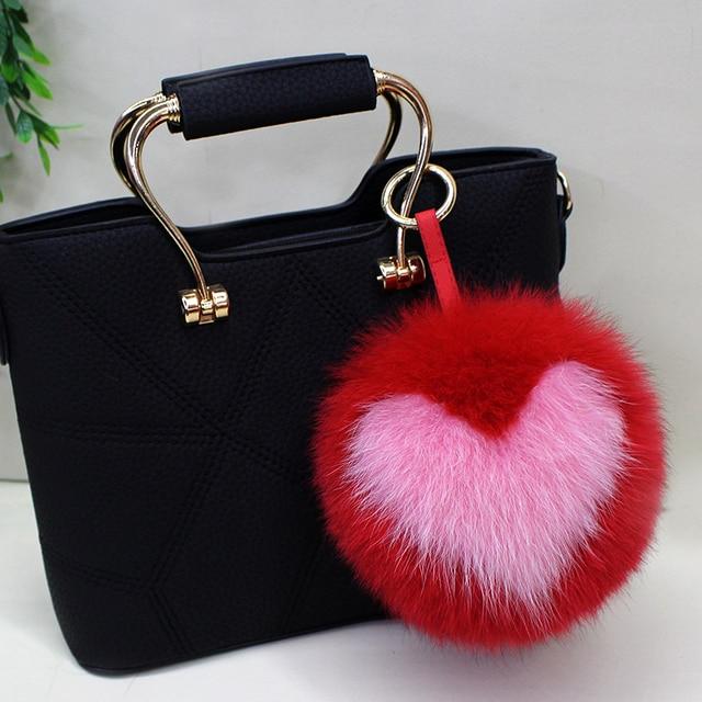 637a5840b1b ELEIZHENWTA letter 15 cm Fox Fur Pom Pom ball keychain fluffy Puffs Bag  Pendant Llavero Heart
