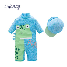 Male baby one-piece swimsuit blue cartoon dinosaur swimming water boys and girls swimwear hot spring clothes