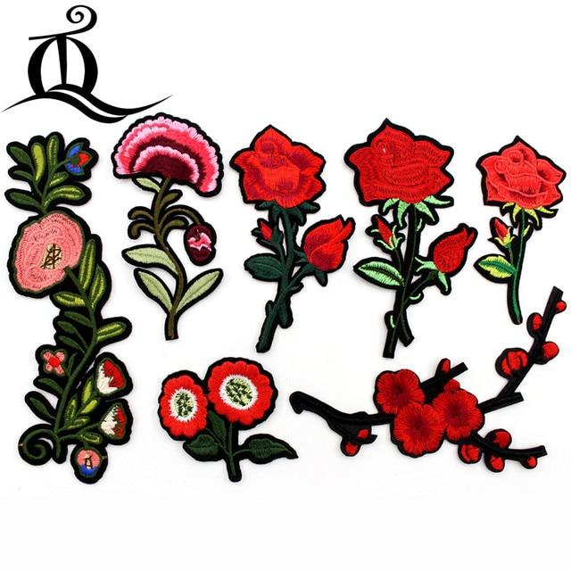 1 unids Costura ropa rosa roja flores Bordado Parches hotfix ...