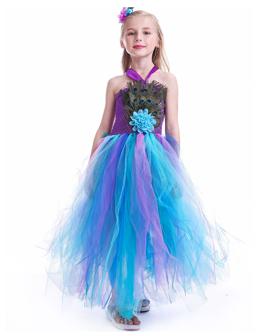 Peacock Feather Girl Tutu Dress Baby Peacock Dress with Hair Accessories  Halloween Pageant Wedding Glam Costume Party Outfit (15)