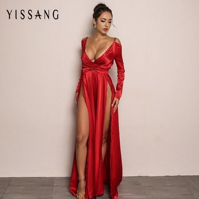 Yissang Red Blue Elegant Women Long Dress Summer Solid Sexy V Neck Maxi  Autumn Dresses Party 36eada98cc73