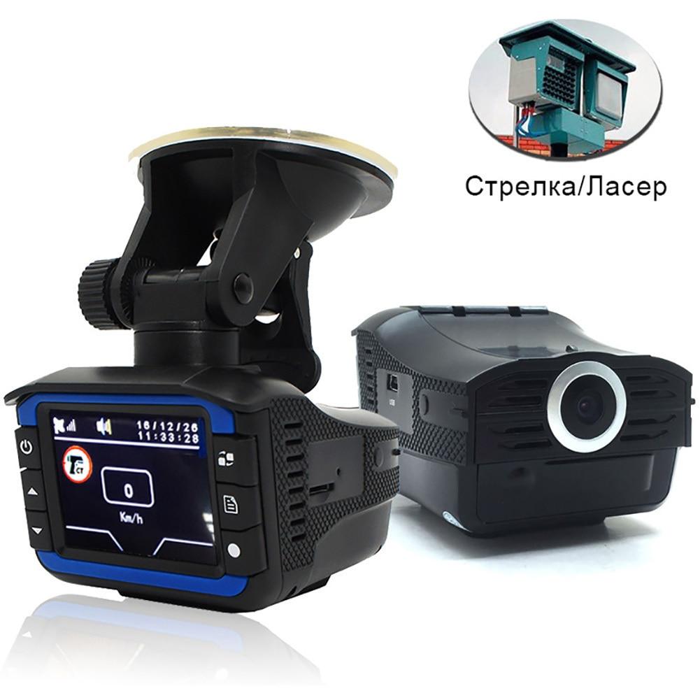 3 dans 1 720 p Détecteurs De Radar de Voiture DVR Enregistreur Vitesse Détecteur Voix Russe GPS Caméra Dash Cam Fixe/ vitesse d'écoulement Mesure