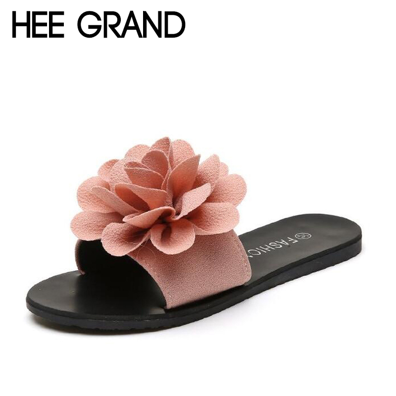 HEE GRAND Summer Slippers Women Slides with Flower Flip Flops Beach Casual Shoes Women for Vacation XWT1105 hee grand 2017 crystal flip flops casual summer slides beach slip on flats platform bling jelly shoes woman slippers xwz4438