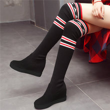 Creepers Women Faux Suede Wedges High Heel Over The Knee Boots Knitting Stretch Thigh Pumps Platform Oxfords Trainers