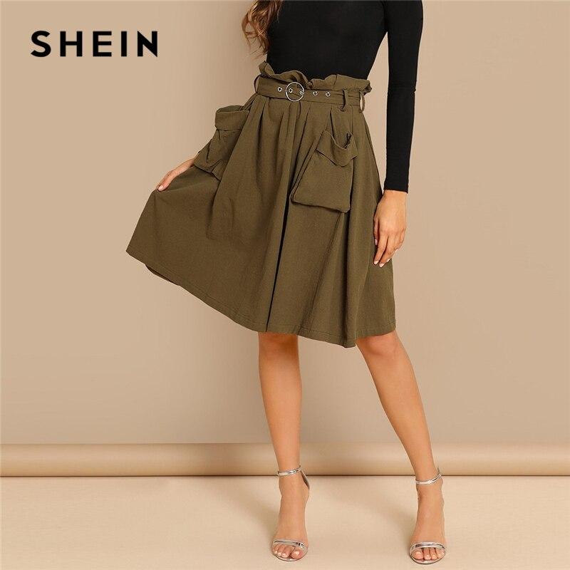 SHEIN Army Green Elegant Waist Belted Pleated Pocket Mid Waist Pencil Above Knee Skirt Short Autumn Office Lady Women Skirts