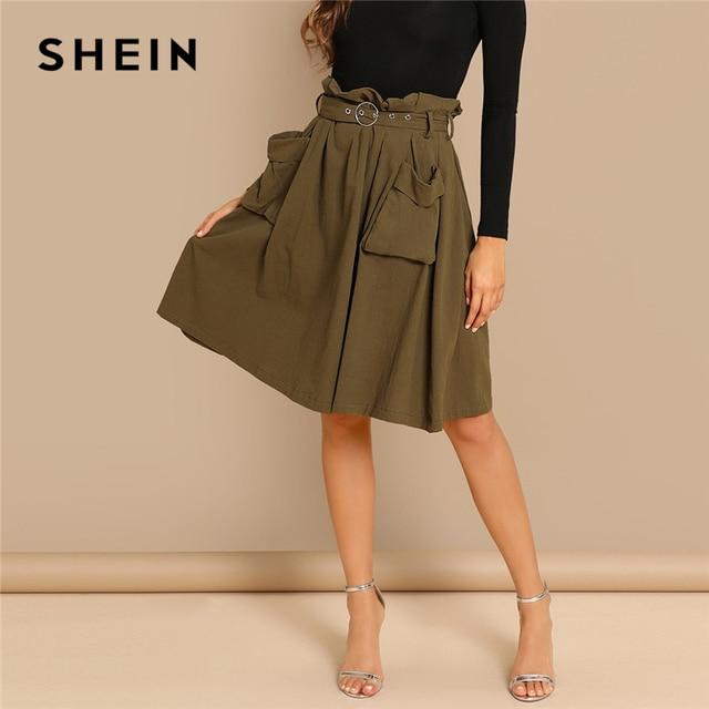 SHEIN Army Green Elegant Waist Belted Pleated Pocket Mid Waist Pencil Above  Knee Skirt Short Autumn 43f6db245
