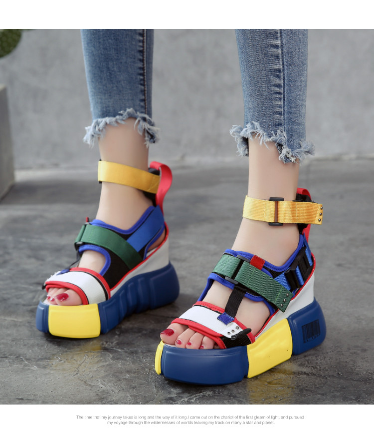 HTB1HNACOhnaK1RjSZFtq6zC2VXa7 SWONCO Women's Sandals 2019 Summer High Heels Sandals For Women Chunky Sandal Womens Wedge Platform Shoes Casual Summer Sandal