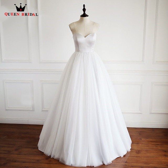 Simple And Elegant White Satin Sweetheart With Jacket: Custom Made QUEEN BRIDAL A Line Sweetheart Satin Tulle
