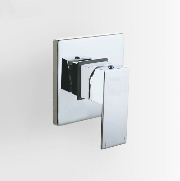 concealed shower faucet mixing valve 3 way in wall square panel chrome brass tap