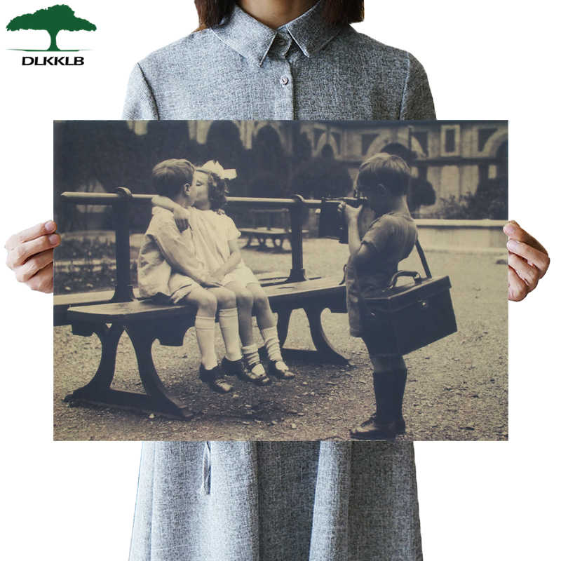 DLKKLBClassic Movie Vintage Poster Little Photographer Kraft Paper Bar Cafe Home Decor Painting Art Wall Stickers 51.5x36cm
