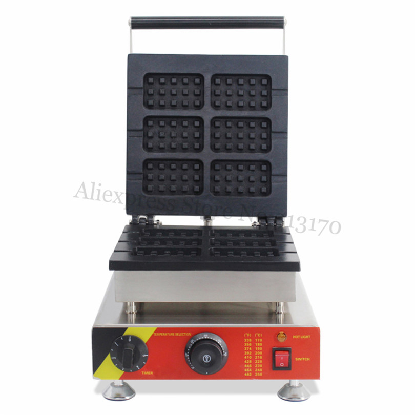 Electric Rectangle Waffle Maker Lolly Waffle Machine Baking Device 110V 220V 6pcs Molds for Breakfast Snack Street vibration type pneumatic sanding machine rectangle grinding machine sand vibration machine polishing machine 70x100mm