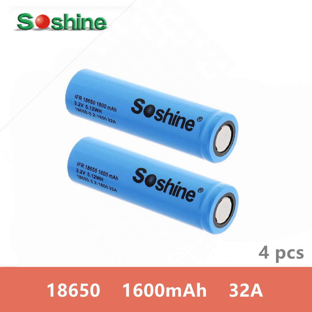 <font><b>4</b></font> <font><b>pcs</b></font> original SOSHINE 32A18650 3.2v 1600mah High Capacity rechargeable <font><b>battery</b></font> LiFePo4 with <font><b>Battery</b></font> Box for LED Flashlights NEW image