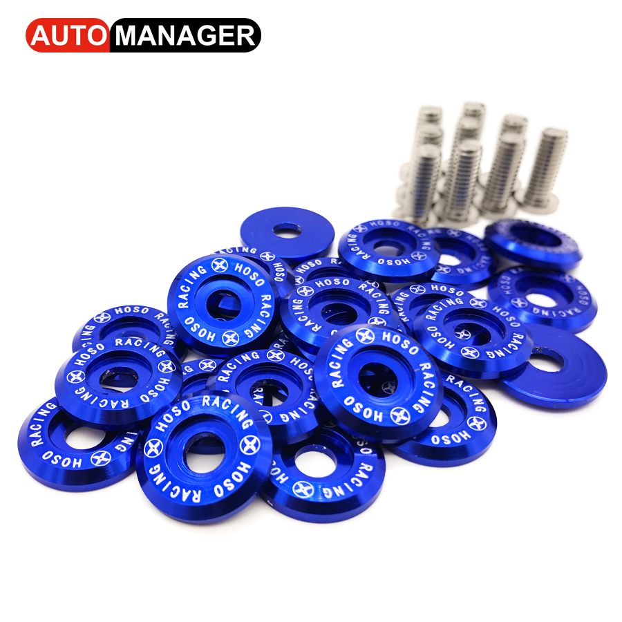 Fender Washer JDM Style fit Any 6mm Hole Bumpers Engine Dress Up License Plate Aluminum Washers With Bolts 10pcs m6x20 car styling universal modification jdm sticker stickers password fender washer license plate bolts auto accessories