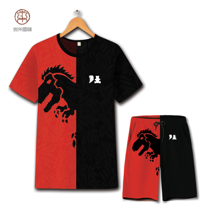 Motif dinosaure noir et rouge imprimé couleur mixte t-shirt et short costume été 2018 nouveau creux respirant qualité hommes ensemble court