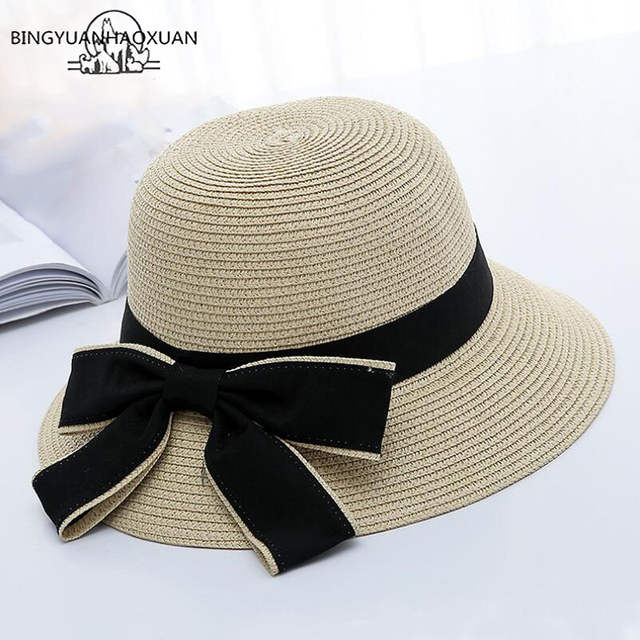 1eb52922 placeholder BINGYUANHAOXUAN 2018 New Sun Hat Big Black Bow Summer Hats For Women  Foldable Straw Beach Panama