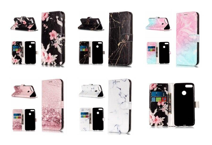 2019 Nieuwste Ontwerp Marmeren Bloem Geschilderd Card Slot Lederen Portemonnee Cover Voor Huawei Y9 2018 Comfortabel Gevoel