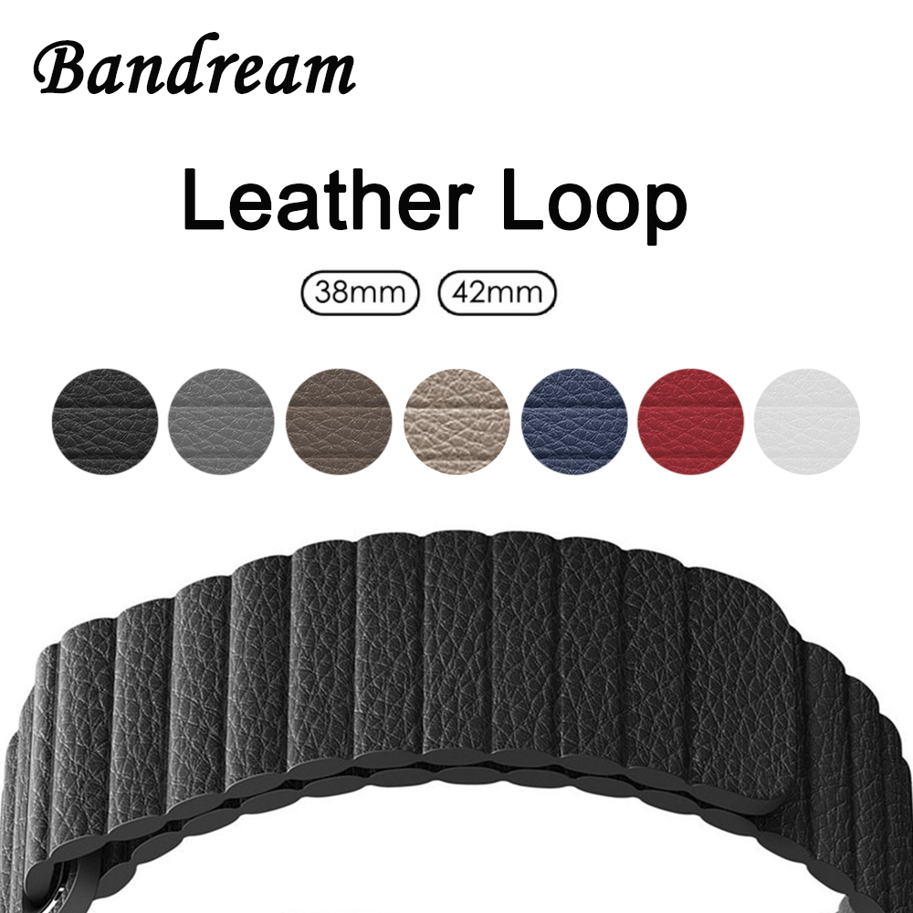 Genuine Leather Loop Watchband for iWatch Apple Watch 38mm 42mm Series 3 2 1 Wristband Magnetic Buckle Band Wrist Strap Bracelet