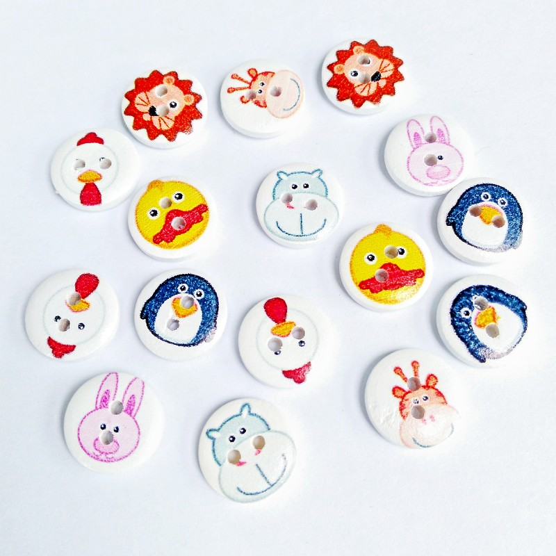 011c7fdb 300 unids 1.5 cm círculo flor botón de madera niño Botones suéter  decoración del botón del color mezclado scrapbooking Shiping libre
