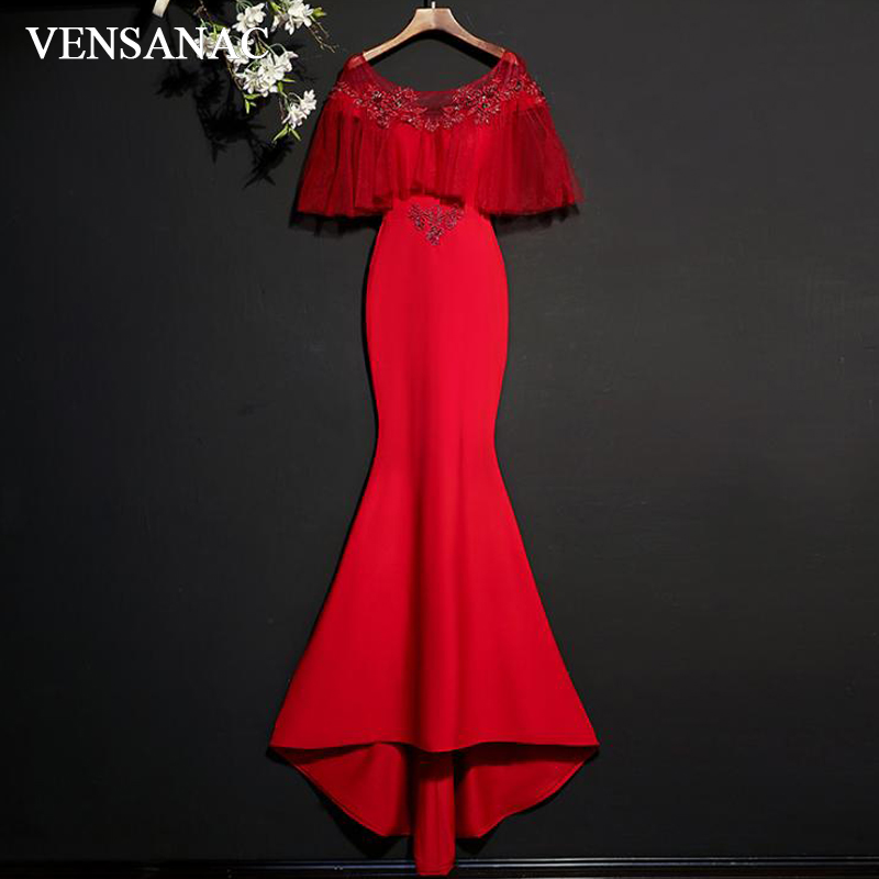 VENSANAC 2018 Crystal O Neck Lace Embroidery Mermaid Long Evening Dresses Vintage Ruffles Sleeve Party Prom Gowns