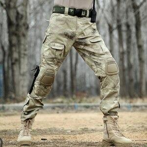Image 4 - Taktische Hosen Cargo Hosen Männer Militär Knie Pad SWAT Armee Airsoft Camouflage Kleidung Hunter Bereich Arbeit Kampf Hosen Woodland