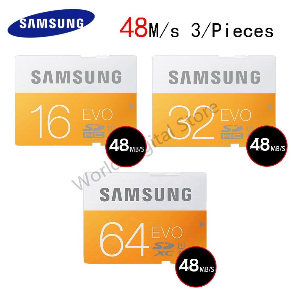 SAMSUNG Flash SD Card 16G 32G 64G 48M S C10 UHS I EVO Memory Card Class