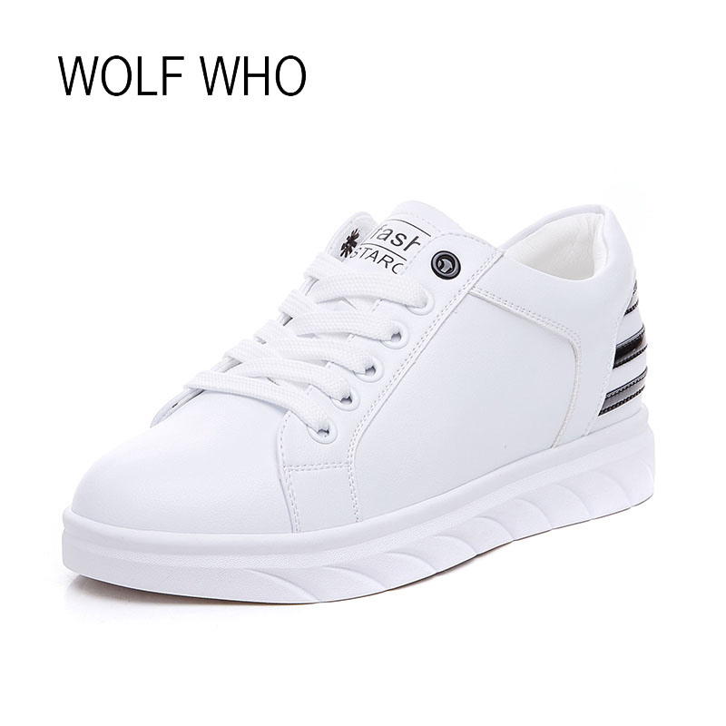WOLF WHO 2018 Spring Women Leather White Fashion Sneakers Ladies Soft Hidden Wedge Casual Sneakers H-209