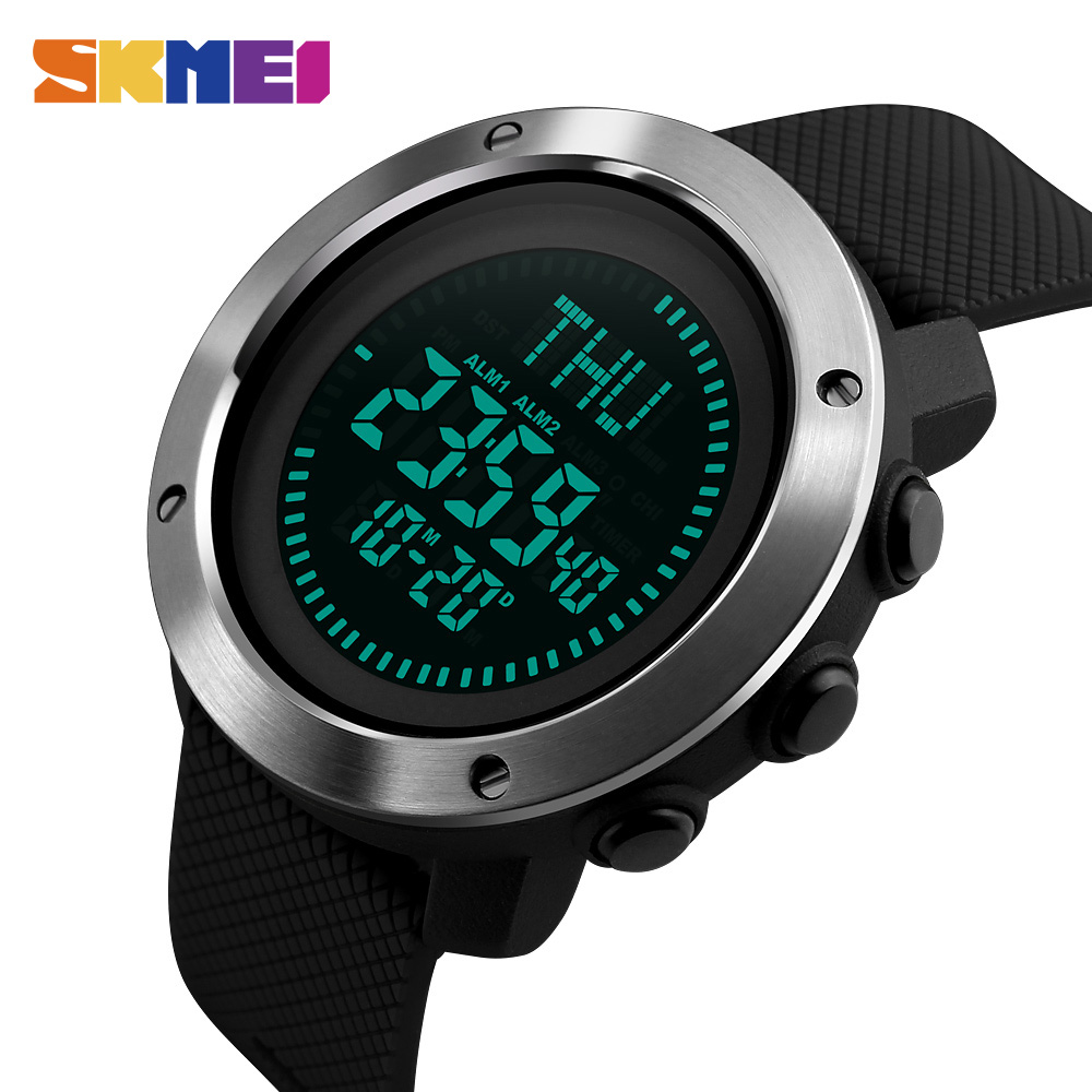 SKMEI Compass Sports Watches Men World Time Summer Time Watch Countdown Chrono Waterproof Digital Wristwatches Relogio Masculino