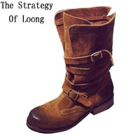 Women Full Grain Leather Buckle Half Boots Spring And Autmn Round Toe Fashion Retro Western Lady