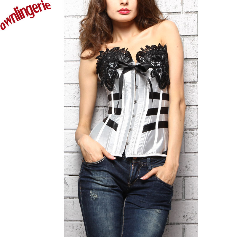 ON SALE Sliver Sexy Corset Women Waist Shapewear Embroidery Floral Cup Corsets Lace up Back Corset Stain Corset Women Lingerie