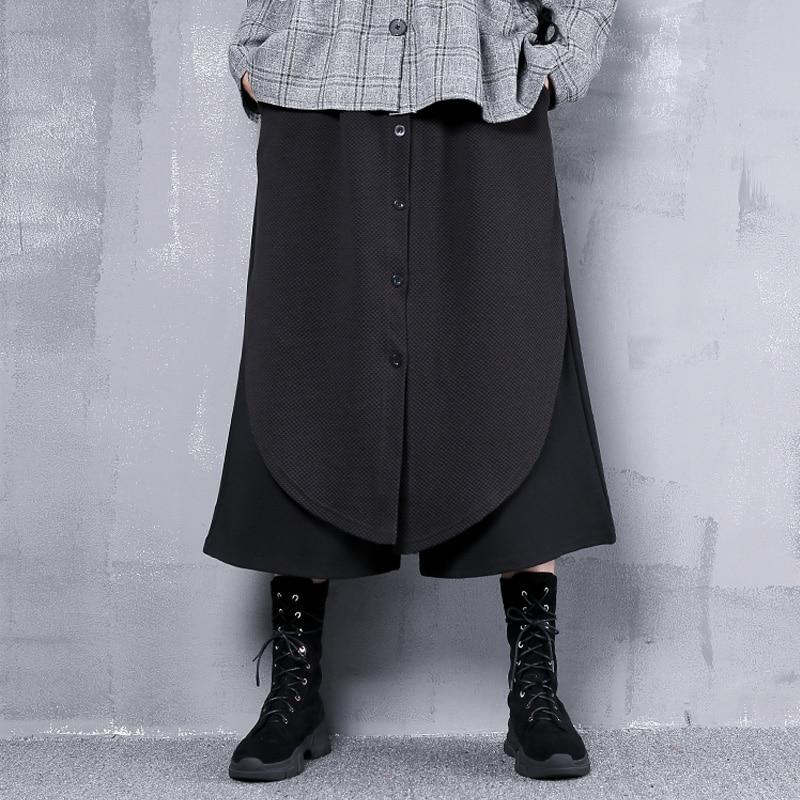 Johnature Women   Wide     Leg     Pants   Black High Waist Trouser 2019 Spring New Elastic Waist Button Fashion Women Cloths Loose   Pants