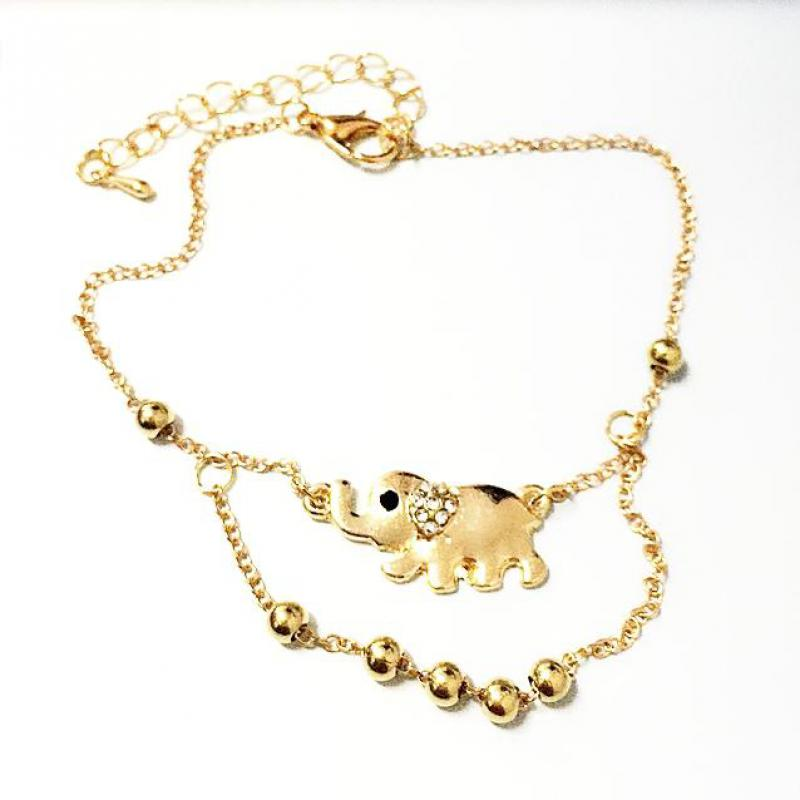 The New Baby Elephant Mascot Double Foot Chain High Quality Gold Elephant Rhinestone font b Bangle