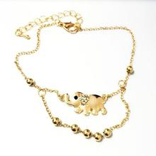 The New Baby Elephant Mascot Double Foot Chain / High Quality Gold Elephant Rhinestone Bangle Bracelet Jewelry For Women  Anklet