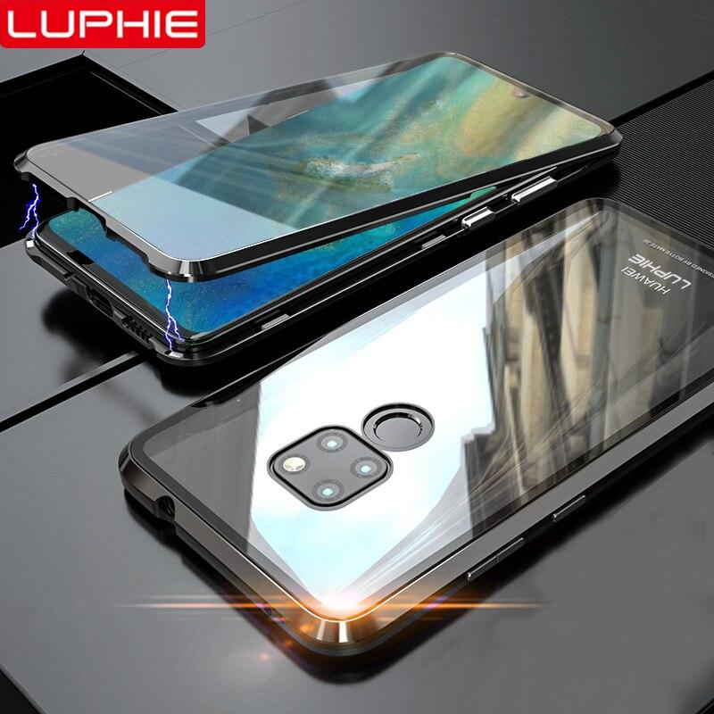 LUPHIE 360 Volle Magnet Fall Für Huawei Mate 20 Pro P30 Pro Vorderseite Rückseite Glas Fällen Für Huawei Mate 20 p30 Magnet Fall Abdeckung