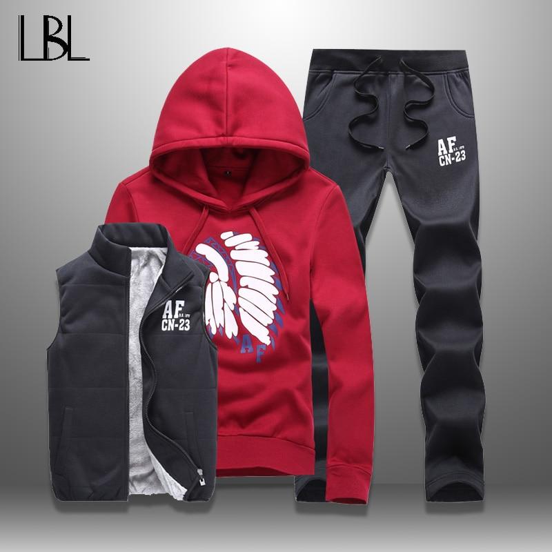 LBL Casual Men Tracksuit Sets Fleece Jacket Vest Pants 3 Pieces Sets Winter Autumn Pullover Hoodie Set Man Women Tracksuits Male hoodie