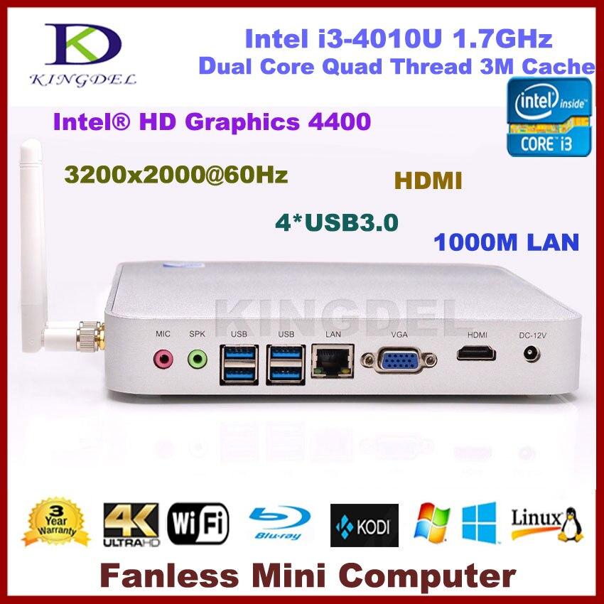 Kingdel Mini Computer Desktop PC 8GB RAM 64GB SSD Intel i3 dual core quad threads CPU Wifi HDMI USB 3.0 VGA ports Win 7/8 Linux soarsea mini computer pocket pc intel nuc core i3 4005u i3 4158u 8gb ram 64gb ssd 4k hd htpc hdmi vga display wifi bluetooth