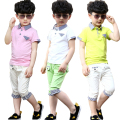 Children's wear boy's summer 2015 children new T-shirt with short sleeves cuhk child grid shorts suit tide boy clothes sets
