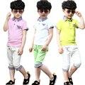 Infantil roupas de verão 2015 crianças t-shirt com mangas curtas grade cuhk terno maré roupas conjuntos