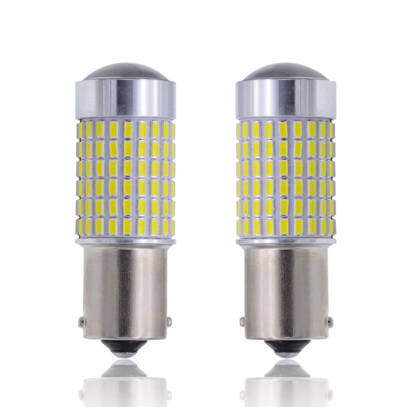 2x S25 White 1156 BA15S 3014 144SMD LED Reverse Backup Light Camper SUV MPV RV Car Replacement Bulb Tail Turn Signal Lights error free 1156 socket 360 degrees projector lens led backup reverse light r5 chips replacement bulb for peugeot 307 2003 2012