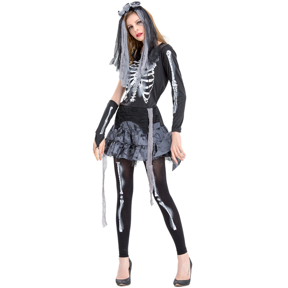 Umorden Purim Carnival Halloween Costume for Women Scary Skeleton Ghost Bride Costumes for Adult Cosplay Dress One Shoulder